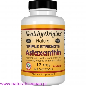 ASTAXANTHIN (ASTAKSANTYNA) NATURAL TRIPLE STRENGTH  12 mg  60 KAPSUŁEK